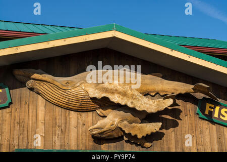 Whale carving Homer spit, Homer, Kenai Fjords National Park, Alaska, USA. - Stock Photo
