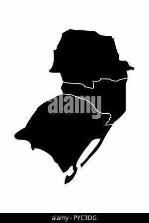 Map of the Brazil south region isolated on white background - Stock Photo