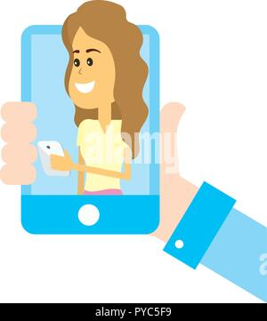 Woman on social networks - Stock Photo