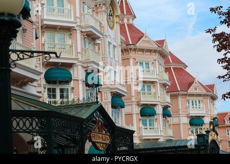 Marne-la-Vallée, France - October 14, 2018: The Disneyland Hotel And Entrance To Disneyland Paris ,Close Up Architecture, Theme Park (Euro Disney), Ma - Stock Photo