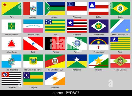 Vector illustration of different countries flags set. All flags states Brazil - Stock Photo
