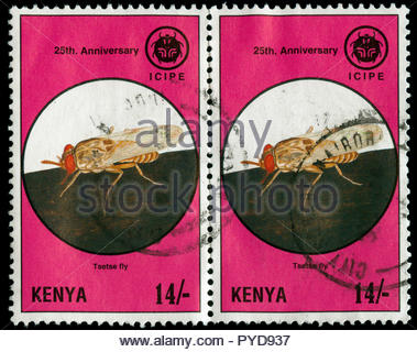 Postmarked stamps from Kenya in the  25 Years ICIPE series issued in 1995 - Stock Photo