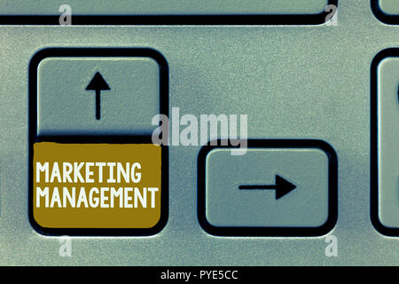 Conceptual hand writing showing Marketing Management. Business photo showcasing Develop Advertise Promote a new Product or Service. - Stock Photo