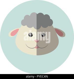 Modern Flat Design Sheep Icon Vector Illustration - Stock Photo