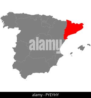 High quality map of Spain with borderrs of Catalonia - Stock Photo