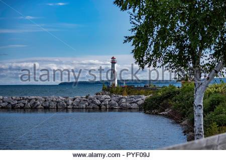 Wawatam Lighthouse on Lake Superior at Saint Ignace, Michigan - Stock Photo