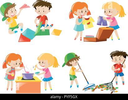 Children doing different activities illustration - Stock Photo