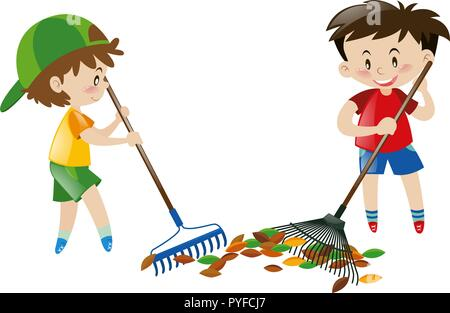 Two boy sweeping leaves with rakes illustration - Stock Photo