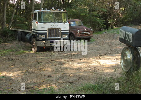 Abandoned old vehicles and funny mailbox on private property - Stock Photo