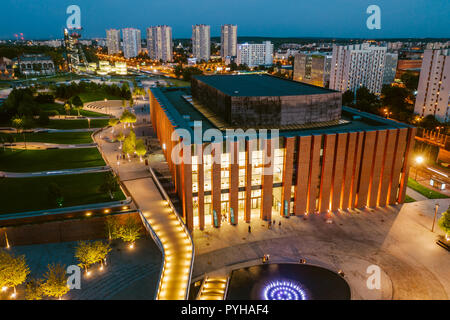 KATOWICE, POLAND - SEPTEMBER 18, 2018: Modern concert hall of The National Orchestra of Polish Radio located in a modern district of Katowice. - Stock Photo