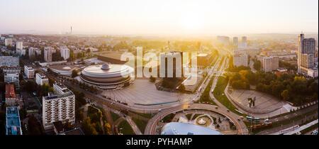 Beautiful sunrise over city center of Katowice - Stock Photo