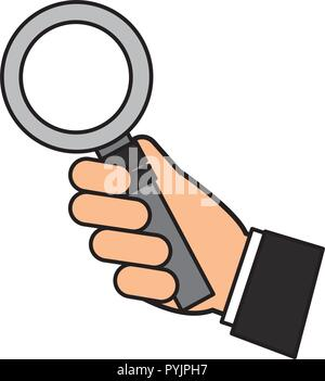hand holding magnifying glass social media - Stock Photo