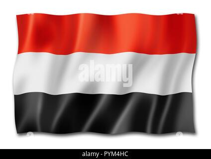 Yemen flag, three dimensional render, isolated on white - Stock Photo