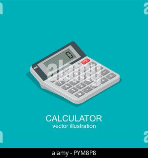 Icon of isometric calculator. Device for mathematical calculations used in business, schools, colleges, offices. Vector element of graphic design - Stock Photo