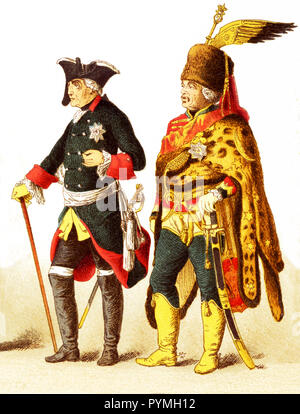 The Figures represented here are all Germans in 1700s and are, from left to right: an officer of dragoons, general of cuirrasiers, Frederick II, General Ziethen, officer of infantry of the guard. The illustration dates to 1882. - Stock Photo