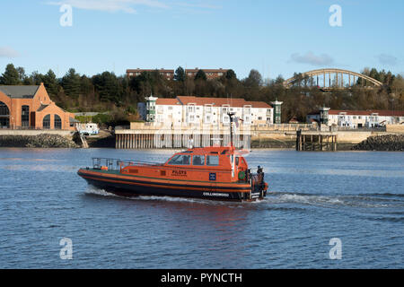 River Tyne pilot boat Collingwood with South Shields riverside in the background, north east England, UK - Stock Photo