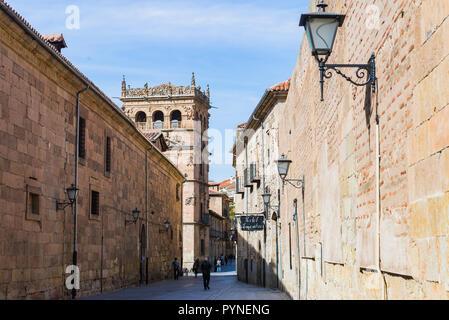 Calle de la Compania and the tower of the Palacio de Monterrey. Salamanca, Castilla y Leon, Spain, Europe - Stock Photo