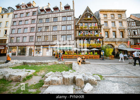 ROUEN, FRANCE - September 03, 2017: Beautiful houses on the old market square in Rouen city, the capital of Normandy region in France - Stock Photo