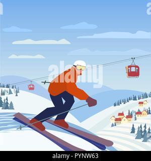 Skiing in mountains - Stock Photo