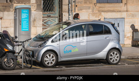 Bordeaux, France - January 26, 2018: Bluecub shared electric car parked in the city center on a reserved place on a winter day - Stock Photo