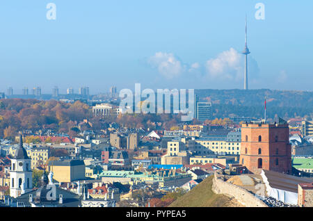 Beautiful panorama of Vilnius, Lithuania, with Gediminas castle, TV tower and bell tower of the cathedral in a beautiful sunny day - Stock Photo