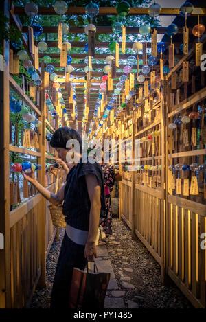 08-12-2017 Hikawa Shrine in Kawagoe - Saitama Prefecture. Wind Chime (fuurin) Festival - Stock Photo