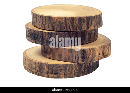 Wooden beer or coffee coasters isolated on white background with clipping path. - Stock Photo