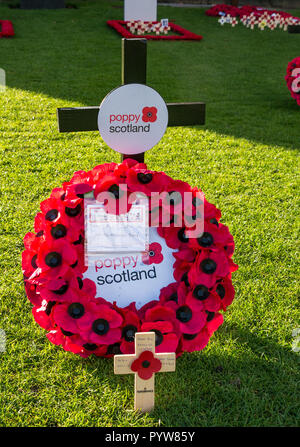 Leith, Edinburgh, Scotland, United Kingdom, 30th October 2018. Poppy Scotland: Edinburgh Garden of Remembrance open to the public by the Scott monument in Princes Street Gardens for the Scottish Poppy Appeal in the run up to Remembrance Day to mark the Armistice centenary - Stock Photo