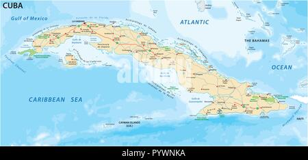 cuba road and national park vector map. - Stock Photo