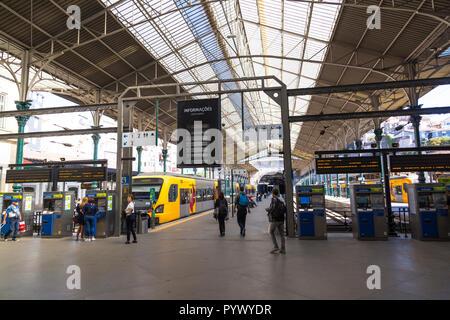 Sao Bento railway station, central Porto, Portugal - Stock Photo