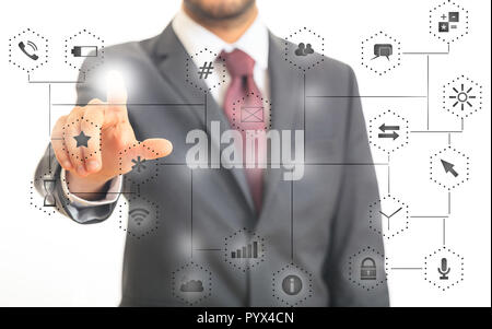 Man in suit pointing at app icons on abstract network connection background. 3d illustration - Stock Photo