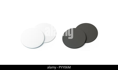 Blank black and white beer coasters mockup set, isolated, 3d rendering. Empty pile of bottle rug mock up. Clear round table-mat template. Cardboard protection for beverage. - Stock Photo