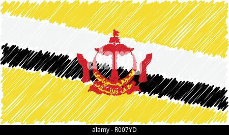 Hand Drawn National Flag Of Brunei Isolated On A White Background. Vector Sketch Style Illustration. - Stock Photo