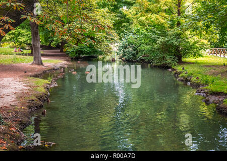 Beautiful view of Parco Sempione in Milan. - Stock Photo