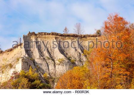 Autumn fall colour sandstone cliff on the Scarborough Bluffs an escarpment in Toronto Ontario Canada - Stock Photo