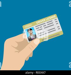 Hand holding driver license with male photo,isolated on blue background,cartoon vector illustration - Stock Photo