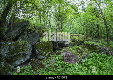 Abandoned remains of destroyed bunker of Festung Breslau. - Stock Photo