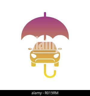 Car insurance sign icon. Protection symbol. Car and umbrella vector flat icon. EPS 10 - Stock Photo