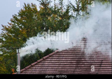 Smoking chimney, Munich, Upper Bavaria, Bavaria, Germany - Stock Photo