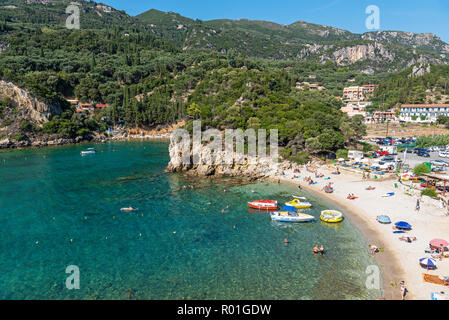 Beach, seaside resort Paleokastritsa, coast, Mediterranean Sea, island Corfu, Ionian Islands, Greece - Stock Photo