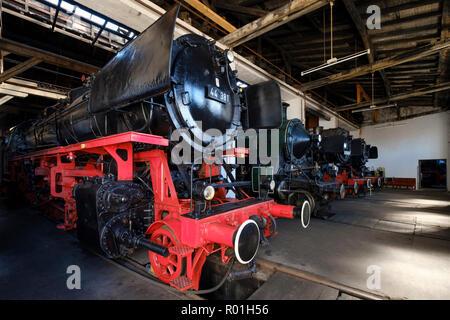 Steam locomotives in the locomotive shed, Bavarian Railway Museum, Nördlingen, Donau-Ries district, Swabia, Bavaria, Germany - Stock Photo