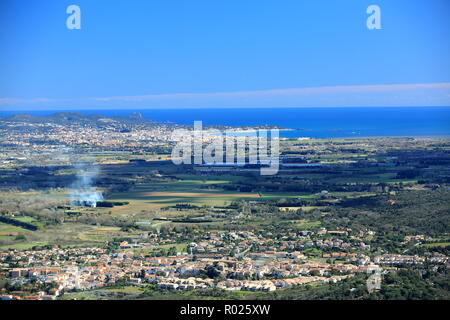 Top view above Roquebrune sur Argens and Frejus, 83, Var, Cote d'azur, PACA, - Stock Photo