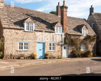 beautiful lane road country house small cottage perfect living chimney; Dorset; England; UK - Stock Photo