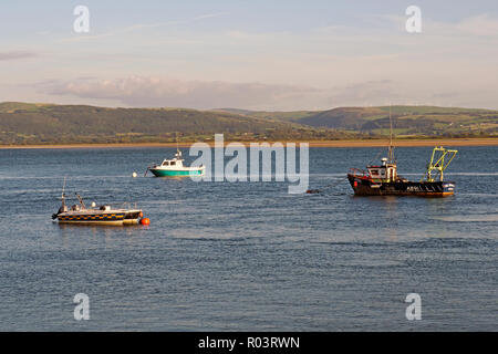 Late summer evening scene on the Dovey (Dyfi) estuary at Aberdovey (Aberdyfi) in Wales. - Stock Photo