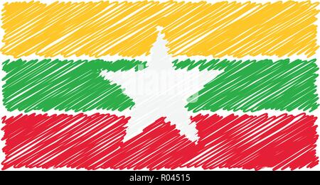 Hand Drawn National Flag Of Myanmar Isolated On A White Background. Vector Sketch Style Illustration. - Stock Photo