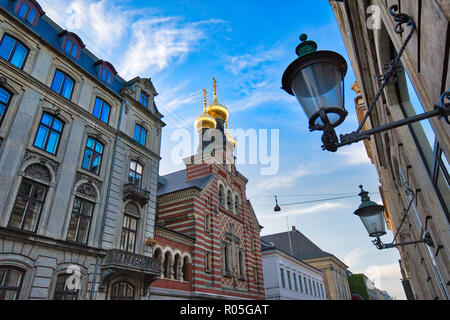 Russian Orthodox Alexander Nevskij (Nevsky) church located in historic center - Stock Photo