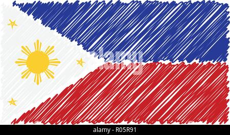 Hand Drawn National Flag Of Phillippines Isolated On A White Background. Vector Sketch Style Illustration. - Stock Photo