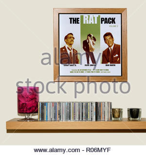 CD Collection and framed The Rat Pack best of album, England - Stock Photo