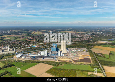 Aerial photograph, Uniper coal power plant, former E.ON Datteln4 power station on the Dortmund-Ems Canal, Emscher-Lippe, Datteln, Ruhr area, North Rhi - Stock Photo