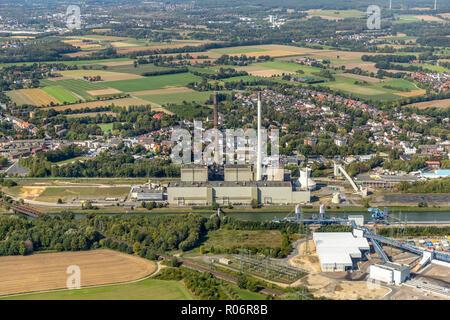 Aerial photograph, Uniper coal power plant,old powerplant EON Datteln 2,  former E.ON Datteln4 power station on the Dortmund-Ems Canal, Emscher-Lippe, - Stock Photo